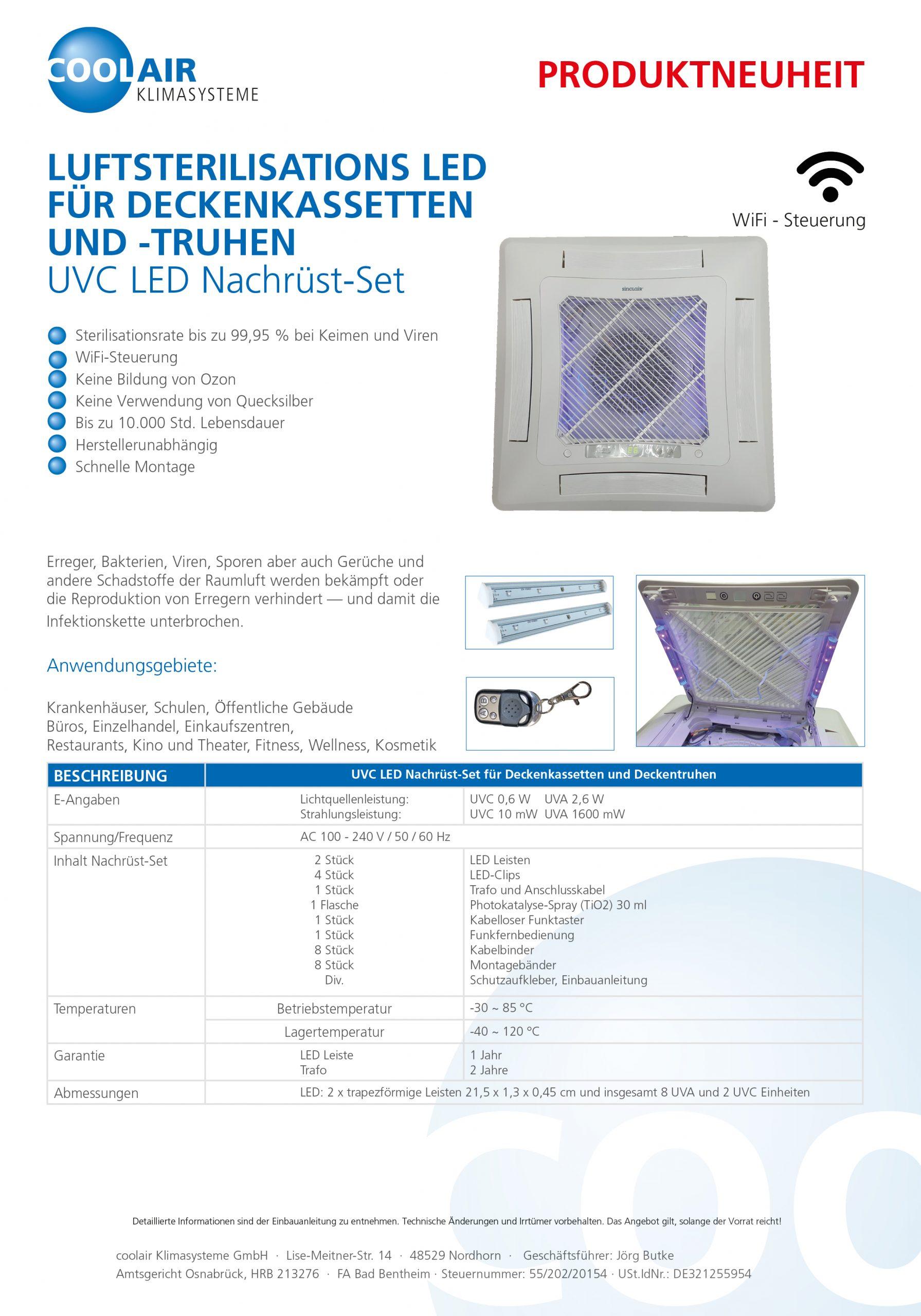 UVC LED Nachrüst-Set für Deckenkassetten /-Truhen